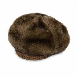 fake fur cap with brim