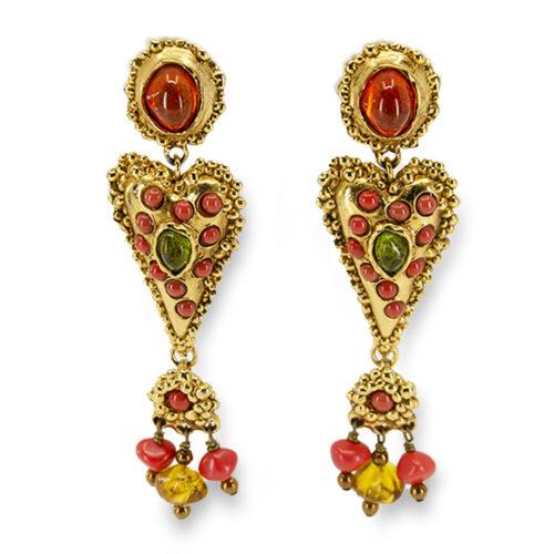 vintage Christian lacroix earrings, dangle earrings, heart earrings