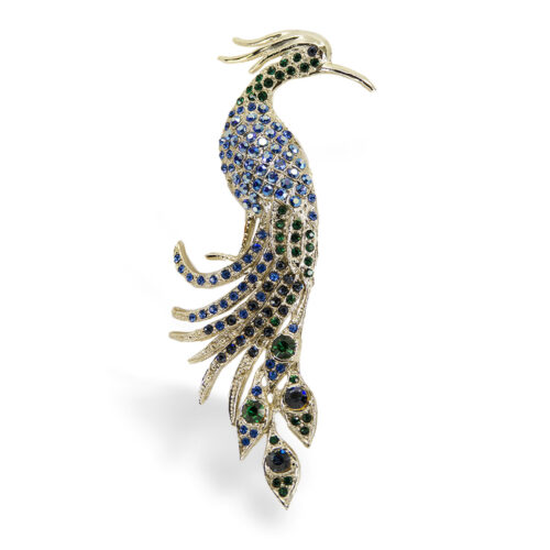 vintage crystal peacock pin