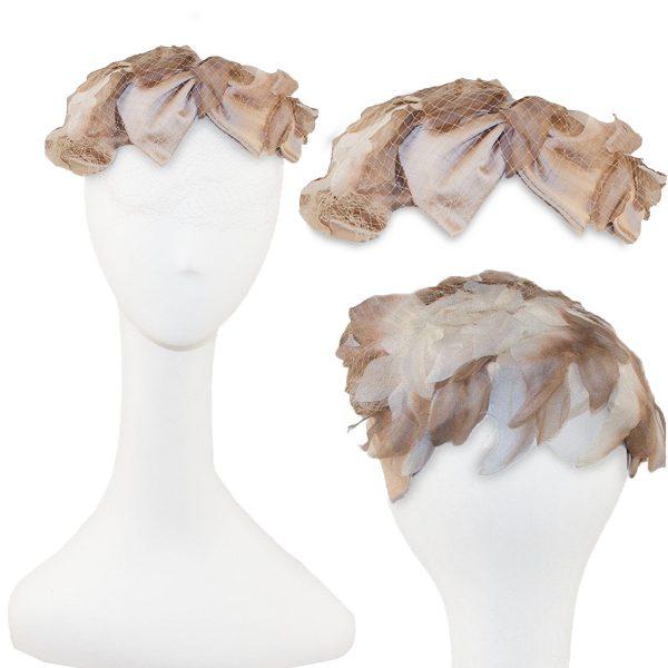Pink & gray silk close hat mid century