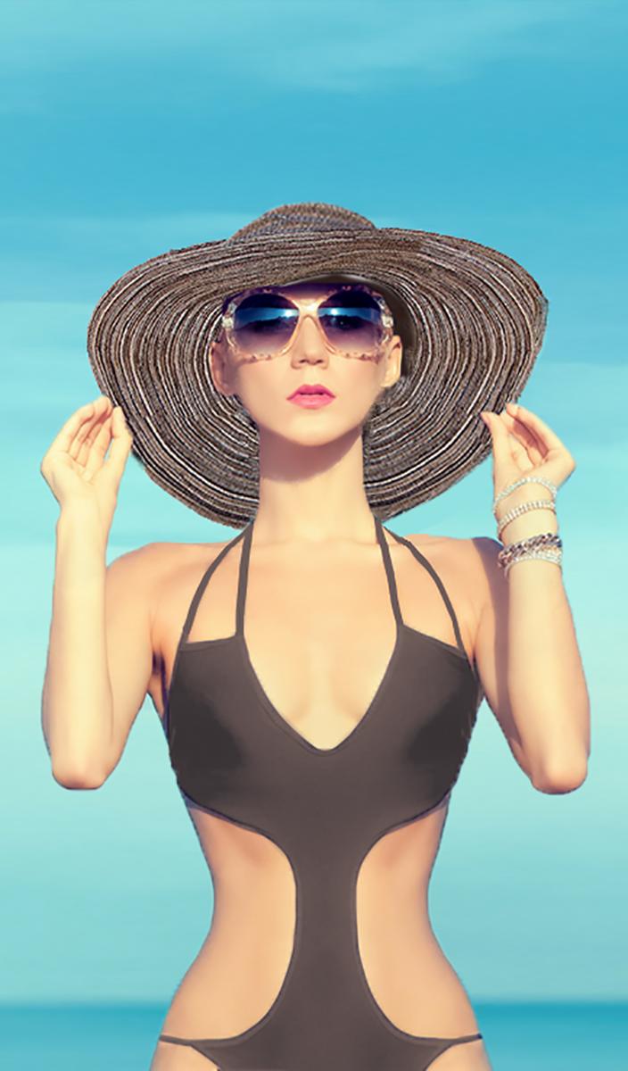 Sun hat swimsuit