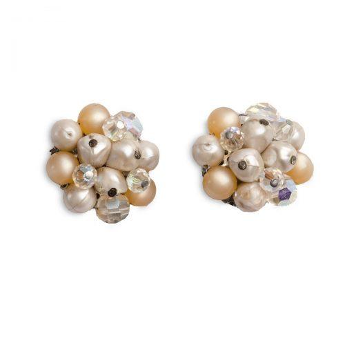 1950s Blush Beaded Earrings