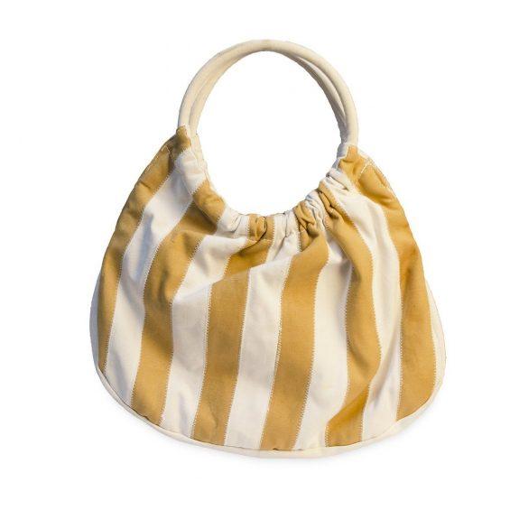 Vintage Striped Canvas Tote Handbag, Gold & Cream Stripes